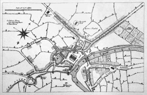 Radcliffe Hall marked on this early map of Manchester